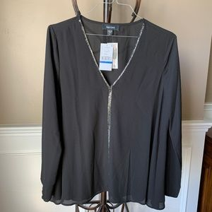 Karen Kane Sparkle Long Sleeve Blouse NWT